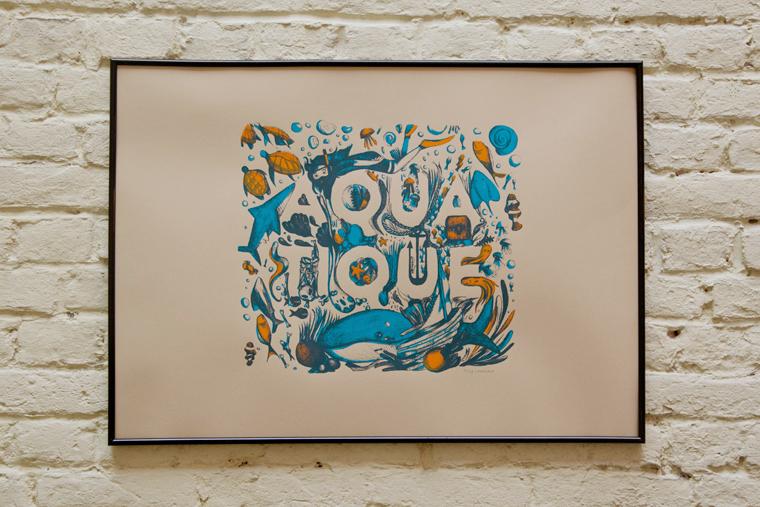 Cadre-mur-carreauxline-Caroline-Chauveau-Aquatique-Tortue-Serigraphie