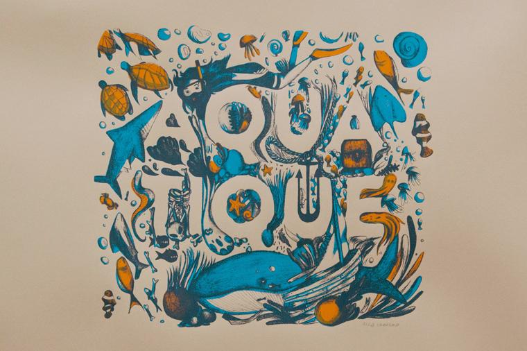 Serigraphie-de-face-Aquatique-Tortue-Lettre-typo